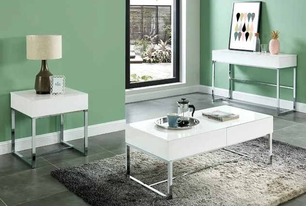 Rectangular Wooden Sofa Table With 2 Drawers_Metal Base_White_Silver 394.94$